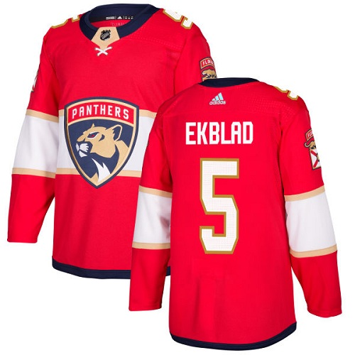 87320968d Adidas Panthers  5 Aaron Ekblad Red Home Authentic Stitched NHL Jersey