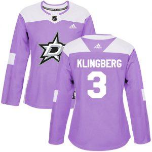 Adidas Stars  3 John Klingberg Purple Authentic Fights Cancer Women s  Stitched NHL Jersey cd2f5036315